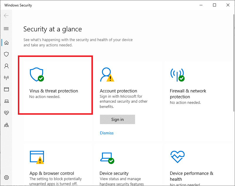 On the left side of Windows Security, click the Virus and Threat Protection button.