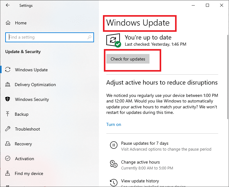 press the Check for Updates button.