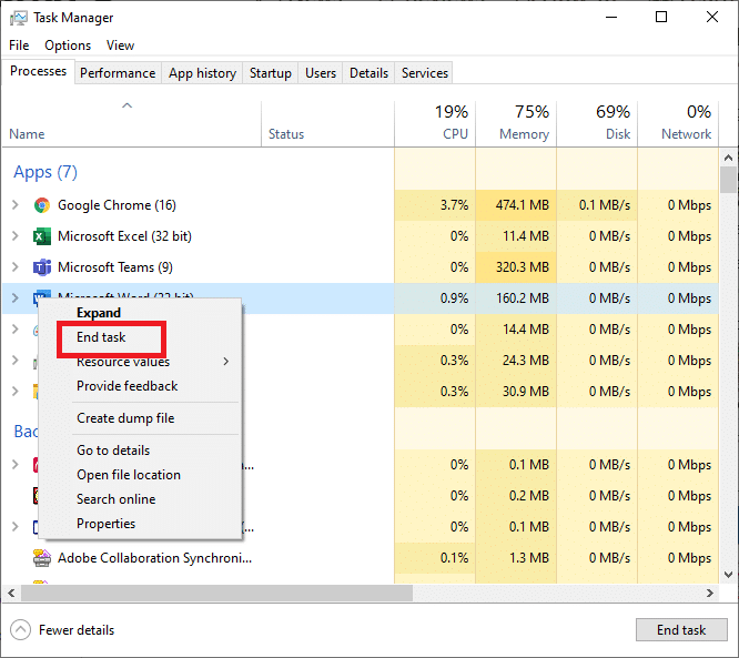 Right-click any LOL process, such as LeagueClient.exe, in Task Manager and select End task.