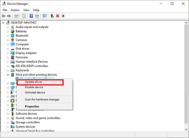Right-click each entry under Mice and other pointing devices and select Update driver.