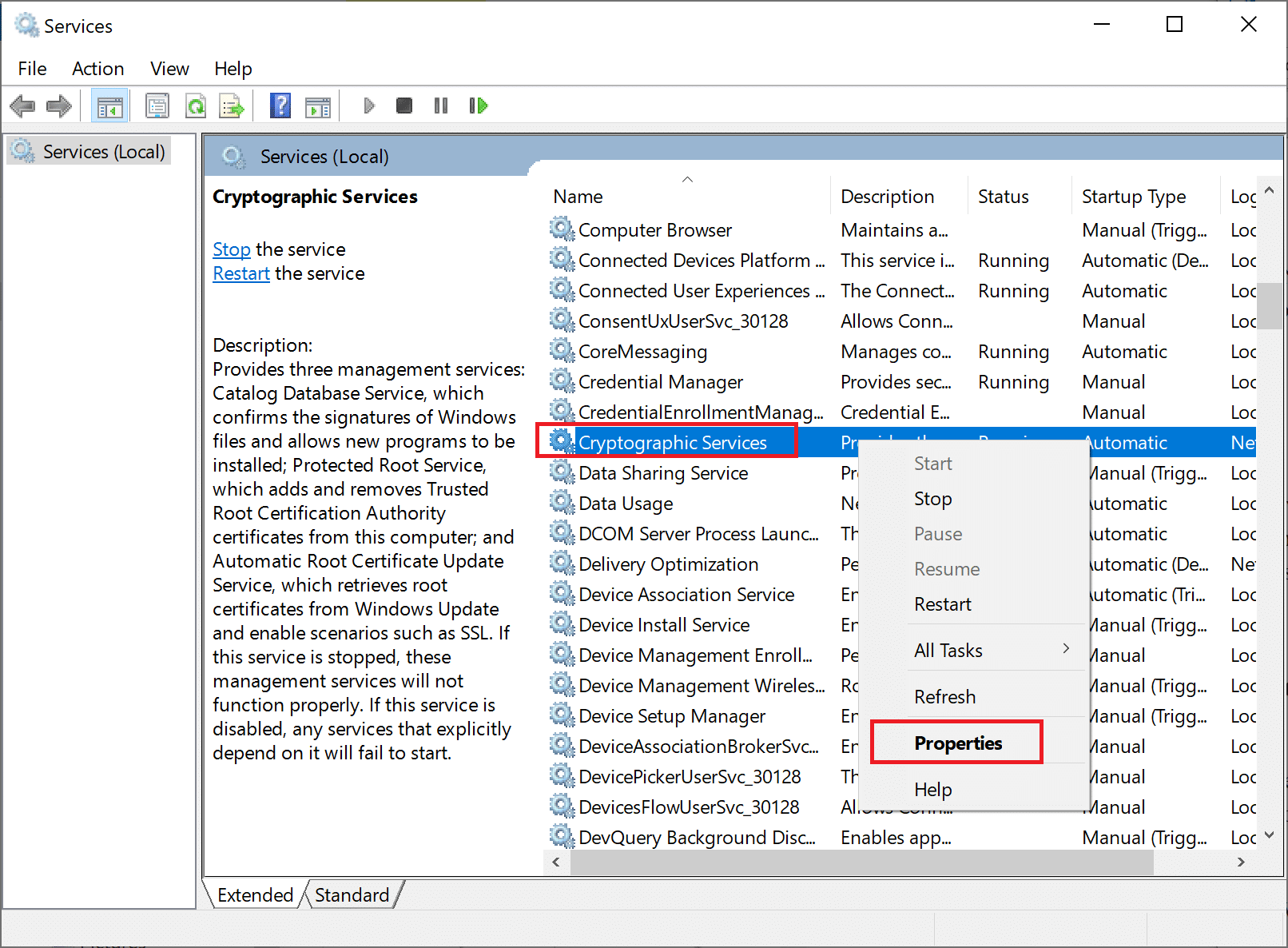 Right-click on Cryptographic Service in Services window and select Properties | How to Fix 'Windows 10 Won't Update'