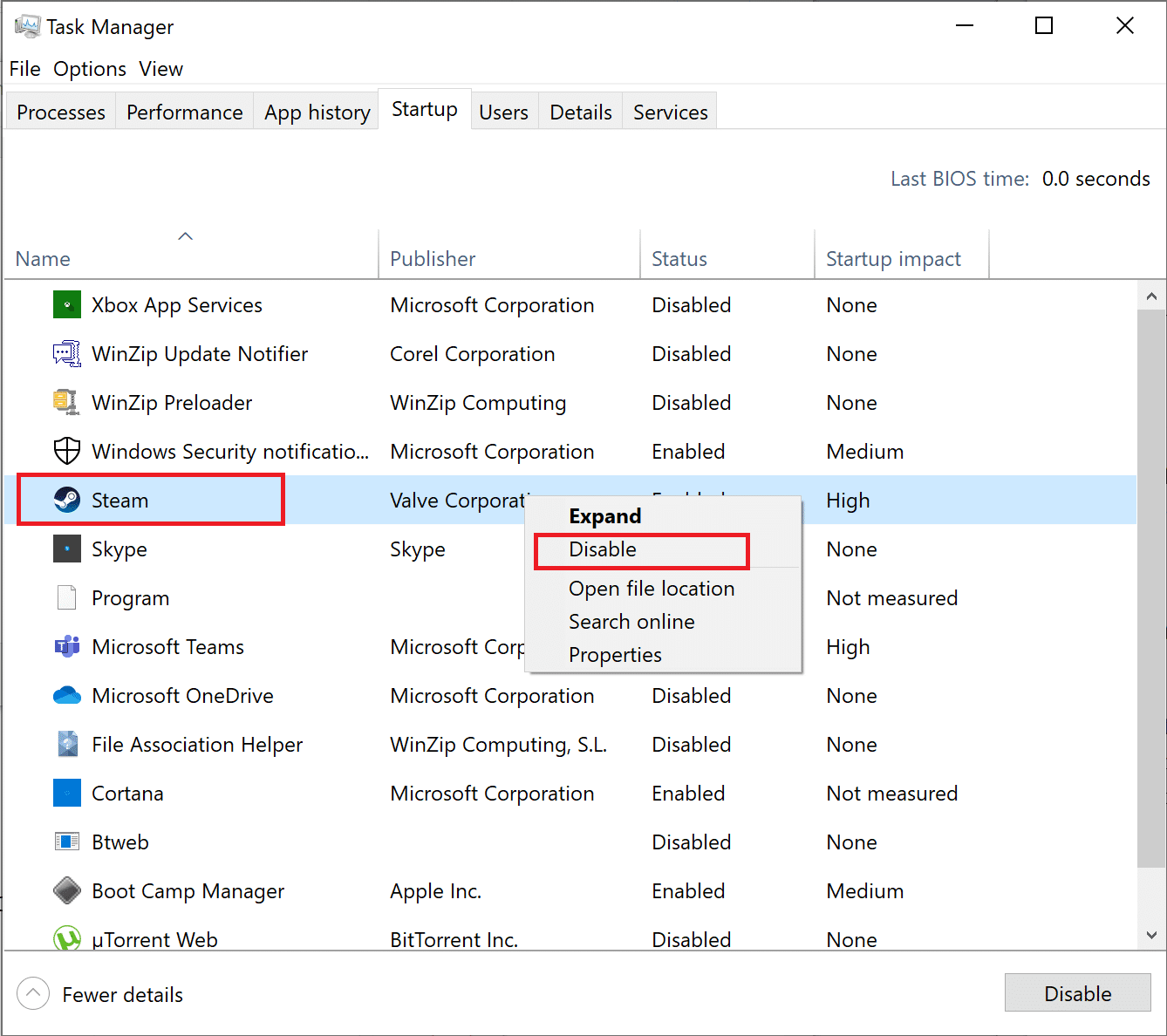 right-click on each unimportant app and select Disable | Fix Windows 10 Apps Not Working