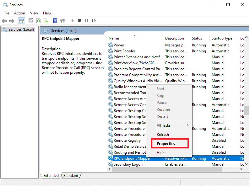 Right-click on RPC Endpoint Mapper and select Properties   Local Print Spooler Service is not running-Fixed
