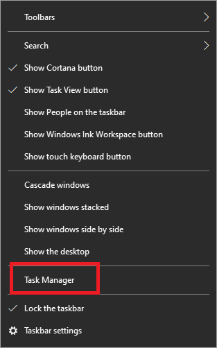Right-click on the Task Bar and select Task Manager | Fixed: League of Legends Slow Download Problem