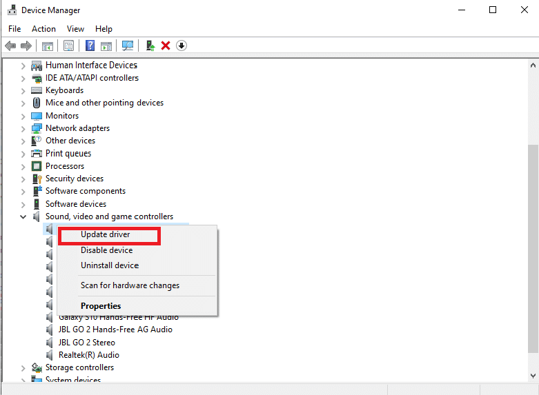 Right-click on Video in the Sound and Video and Game Controller section of your computer and select Update driver.