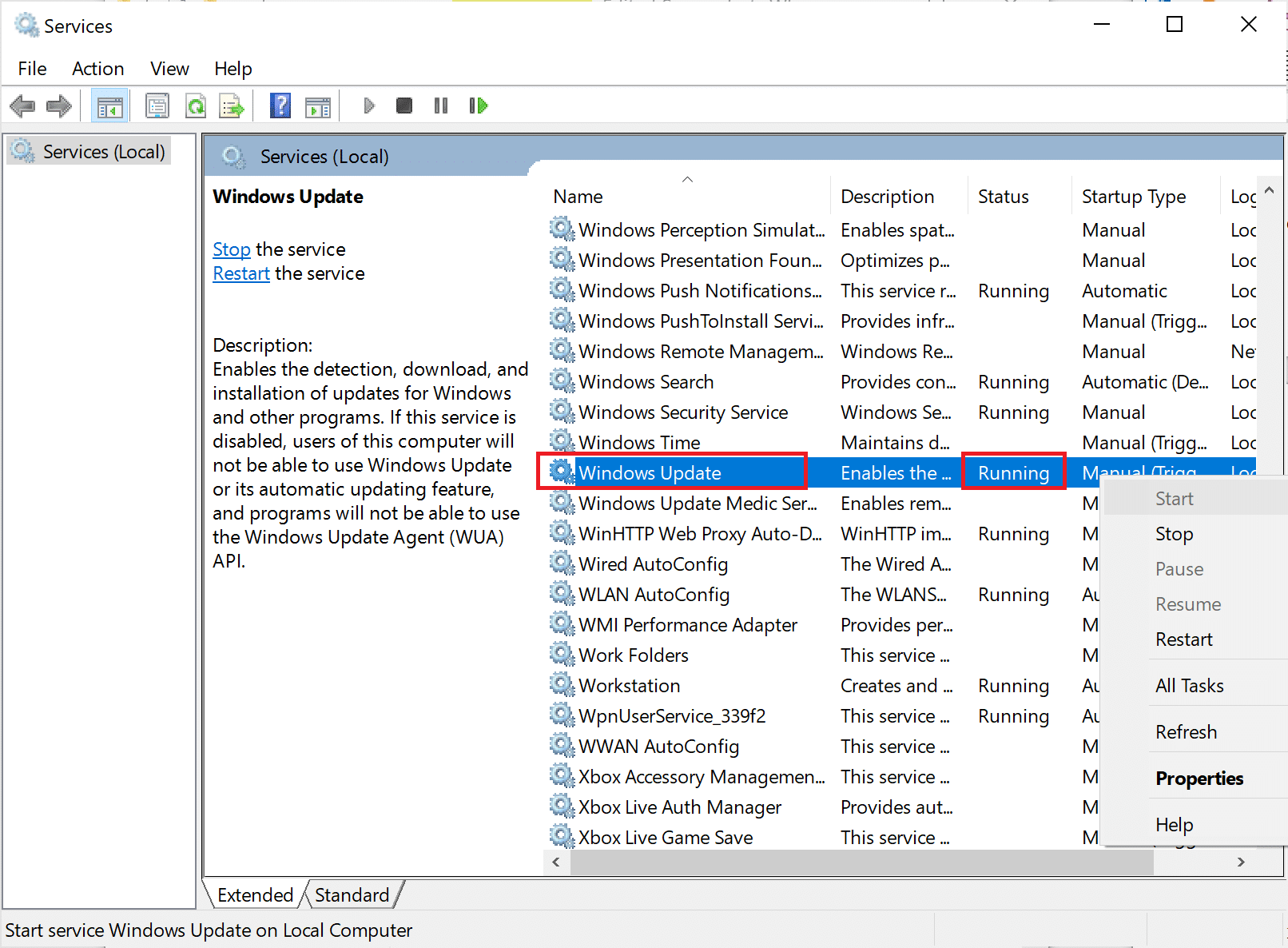 Right-click on Windows Update service and choose Start