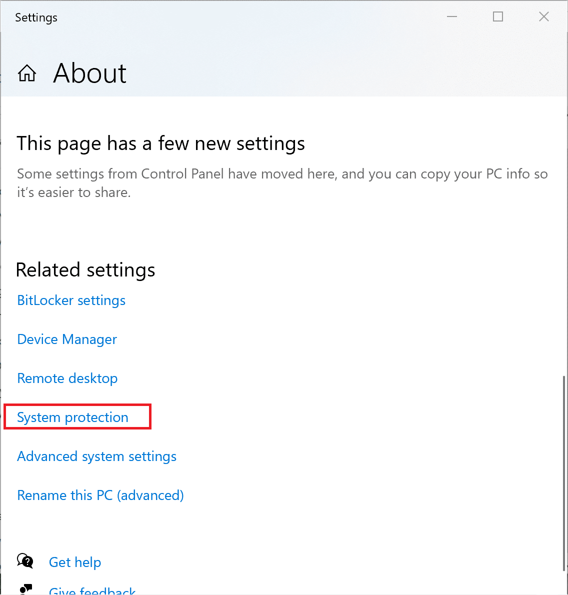 Scroll down in the new window and select System protection