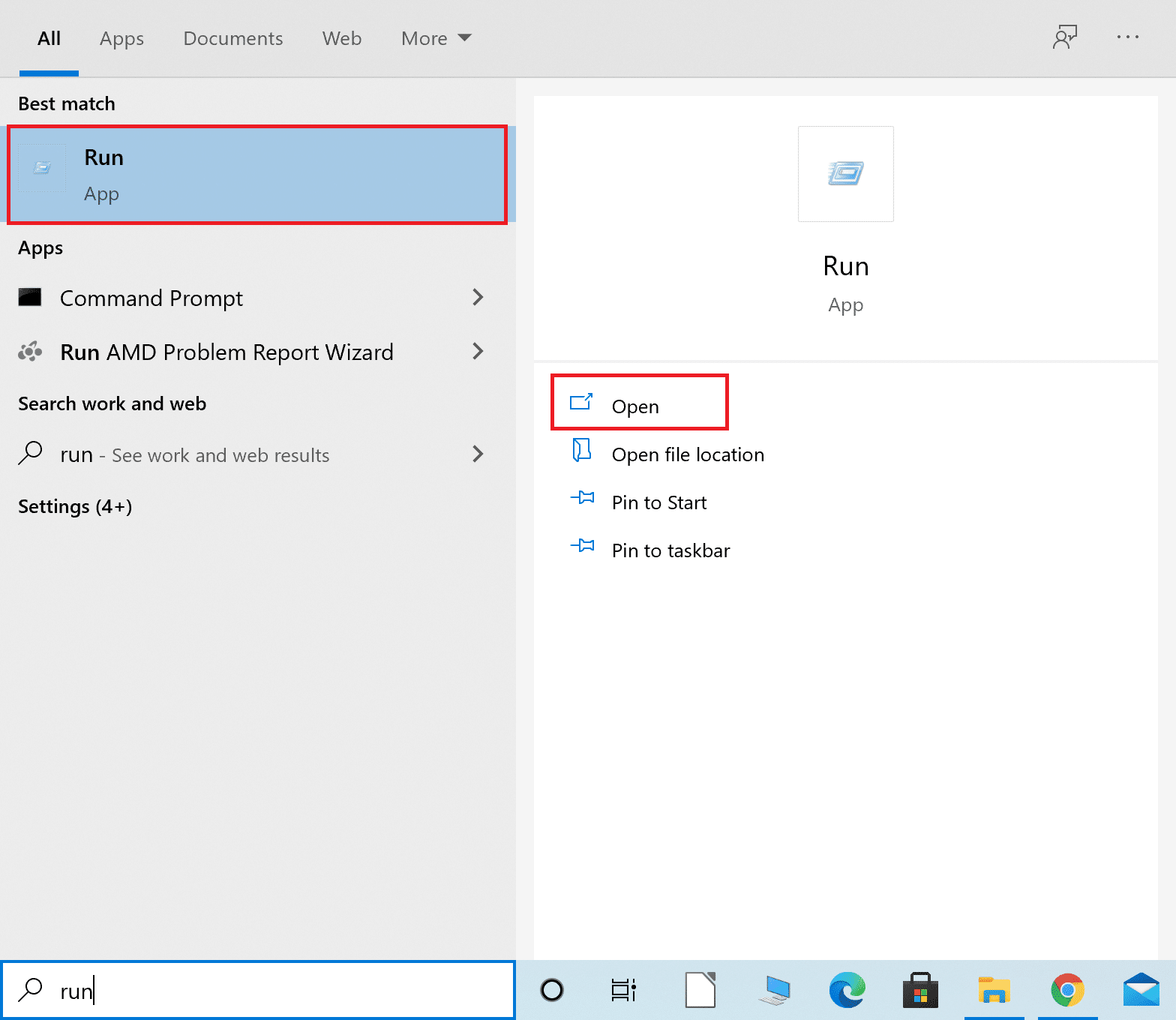 Search and launch Run dialogue box from the Windows search Fix Command Prompt Appears then Disappears on Windows 10