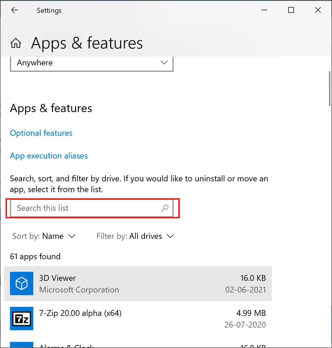 search for application in apps and features windows settings