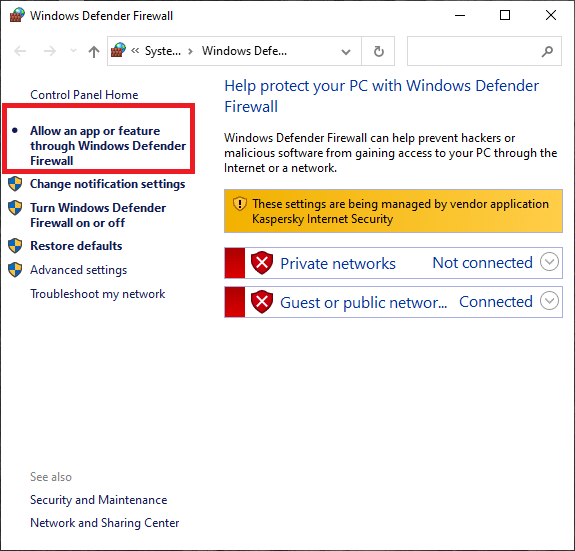 Select Allow an app or feature through the Windows Defender Firewall option on the left side.