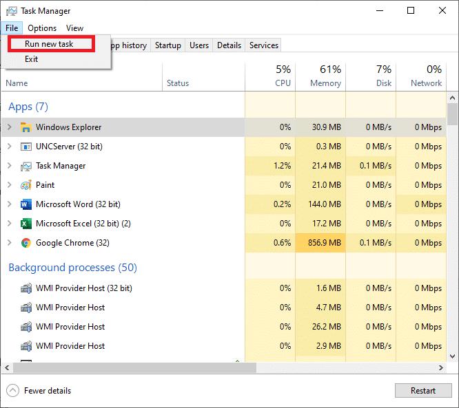 Select Run new task from the File Menu