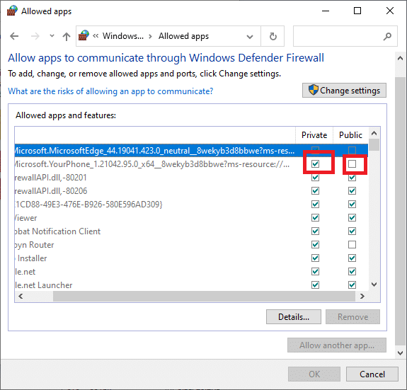 Select the Nexus mode manager application and check the boxes that read public and private.