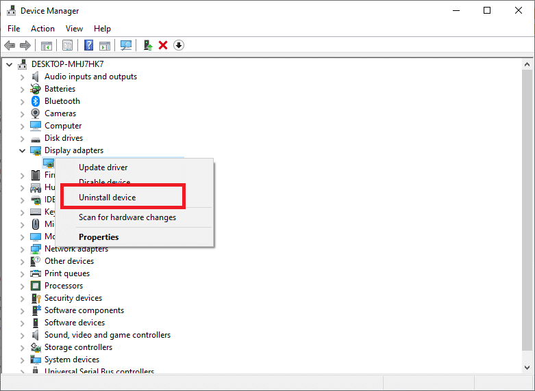 select the Uninstall device option.