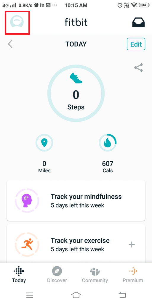 Tap the icon displayed at the top left corner of the Fitbit app home screen.   Fix Fitbit Not Syncing Issue