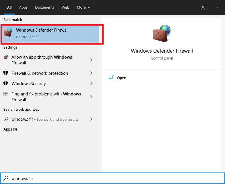To open the Windows Defender Firewall, click the Windows button, type windows firewall in the search box, and then press Enter.