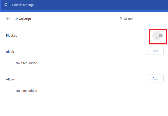 Toggle OFF the setting to the Blocked option