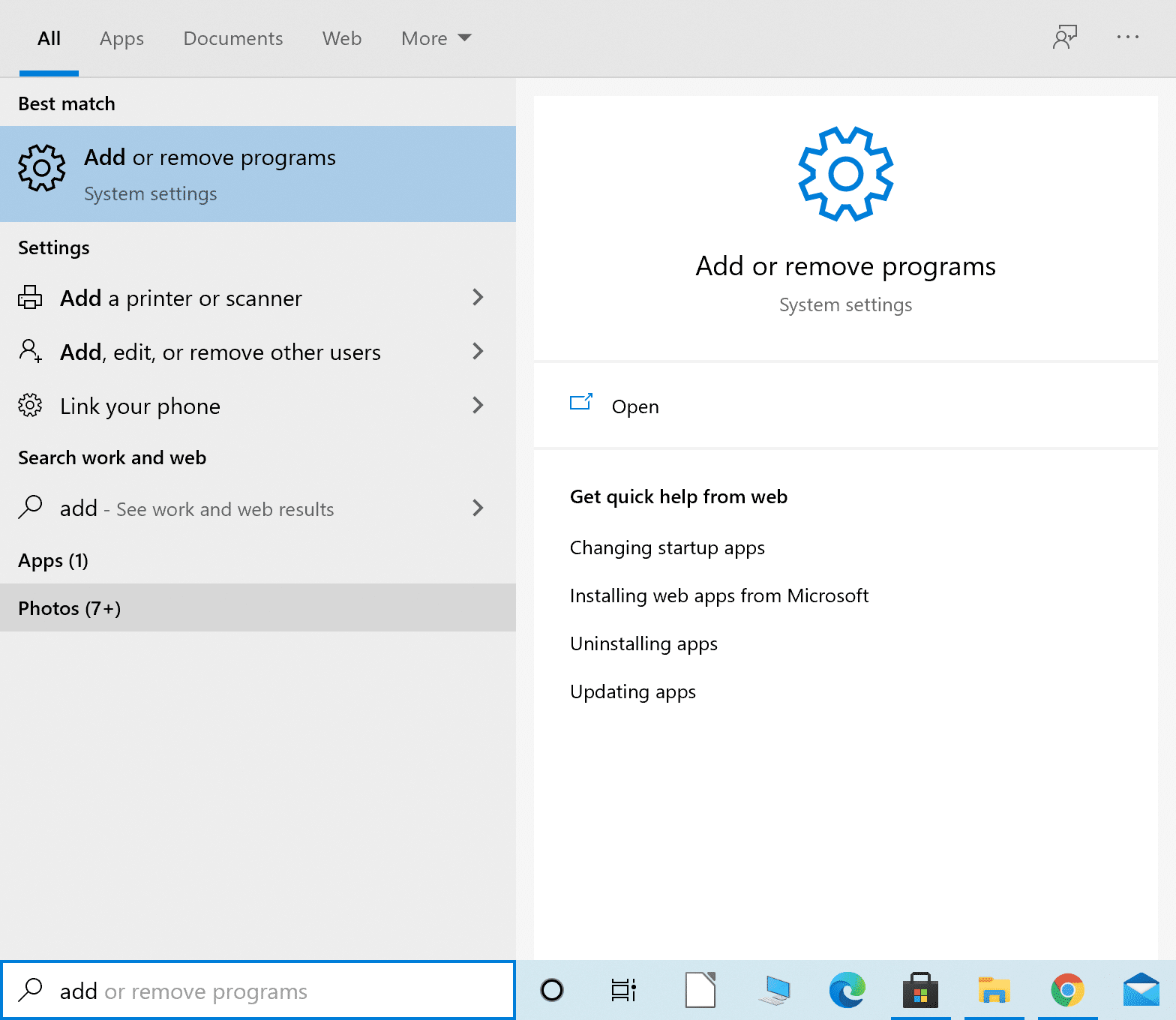 Type Add or remove programs in the Windows search bar
