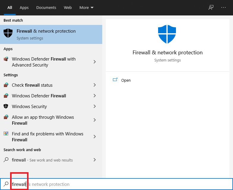 Type firewall as your search option