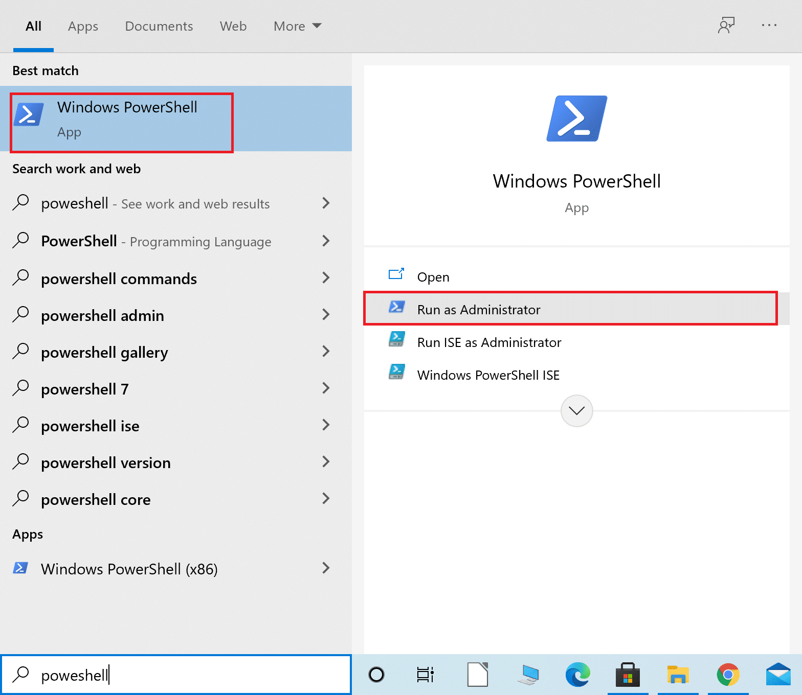 Type Powershell in the Windows search bar and then launch Windows Powershell