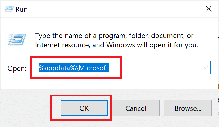 Type %AppData%\Microsoft in the dialog box