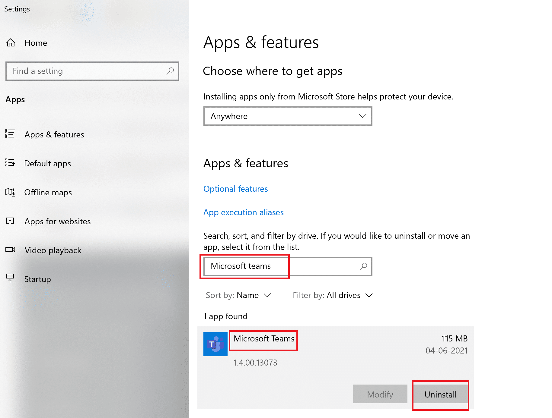 Click on the Teams application and then, click on Uninstall
