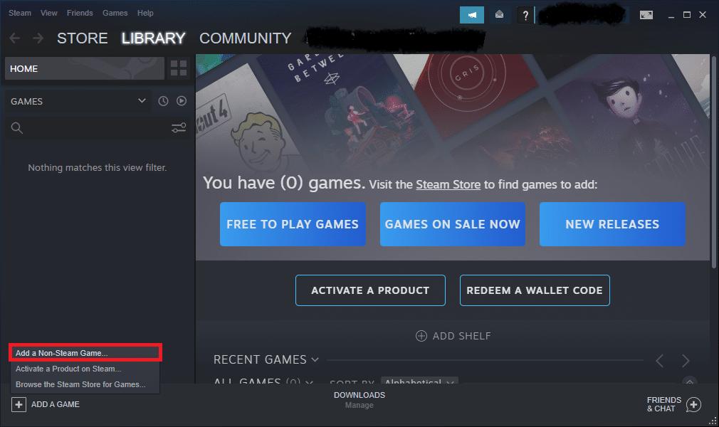 click on Add a Non-Steam Game…