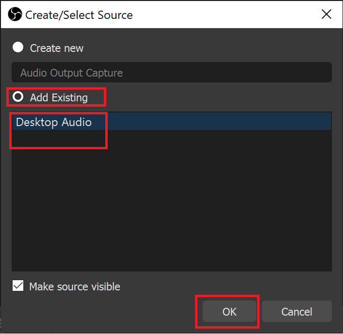 click Desktop Audio as shown below. Click OK to confirm
