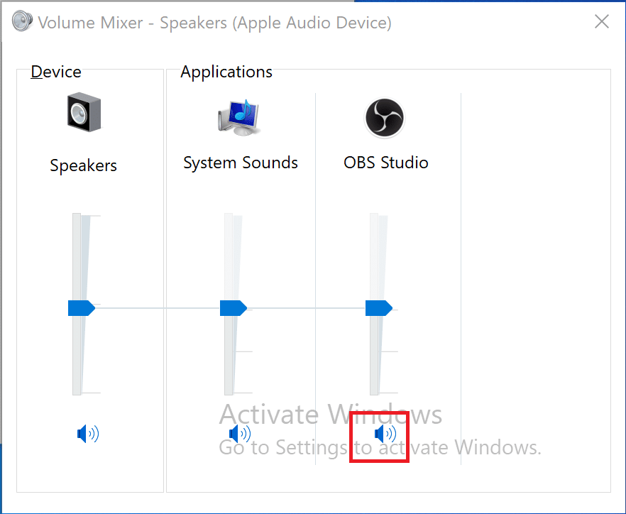 Click on the speaker icon under OBS to unmute OBS if it is muted | How to Fix OBS not Capturing Game Audio
