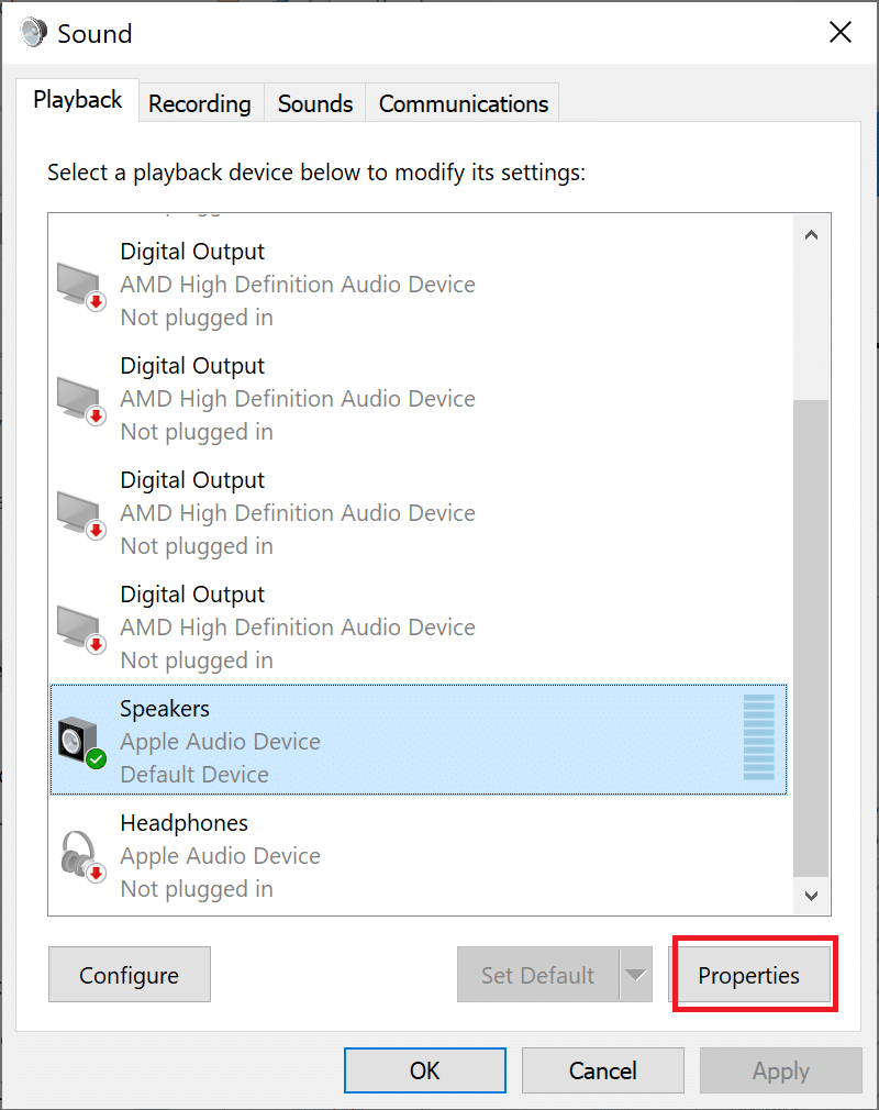 select this speaker and click on Properties