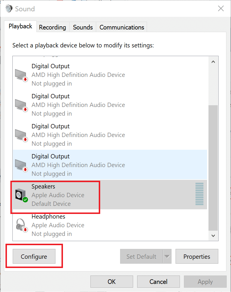 Select your speaker again and click on Configure