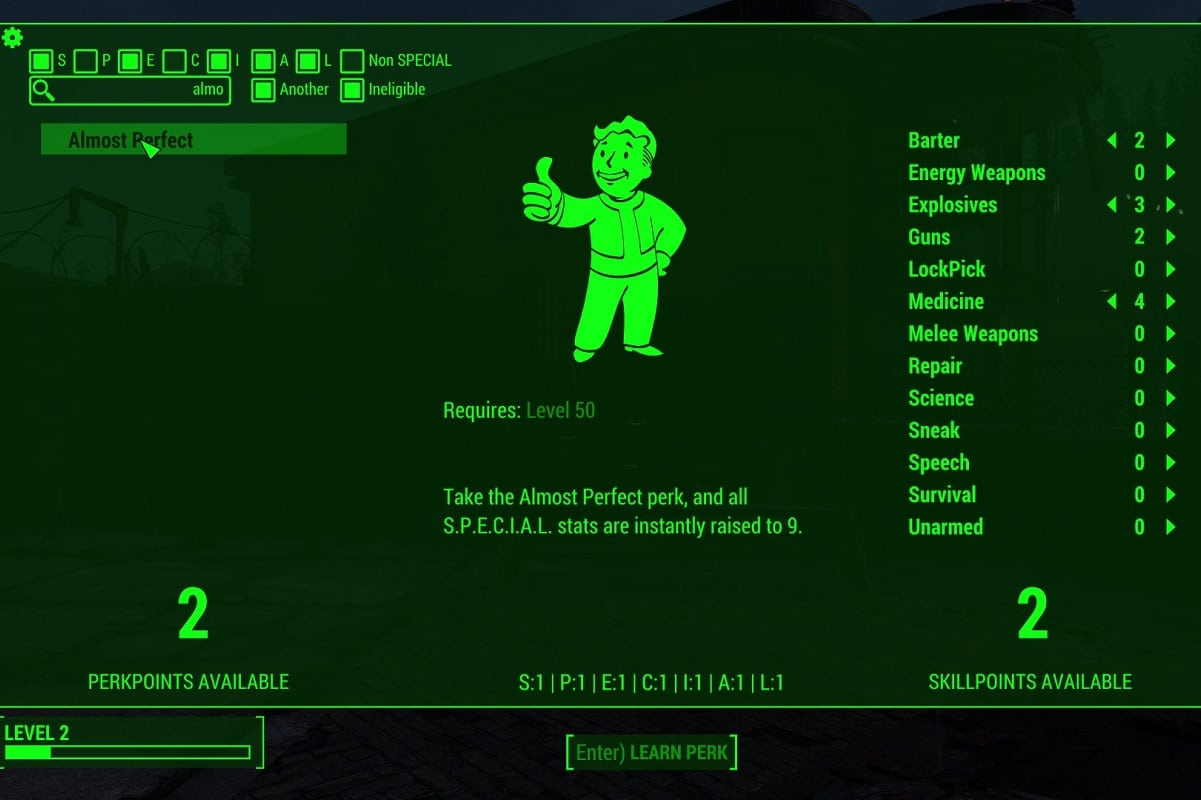 Add Perk Points in Fallout 4 with Level Up