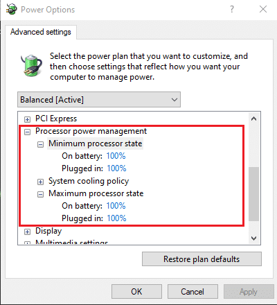 Change the values in the On battery (%) and Plugged in (%) fields to 100