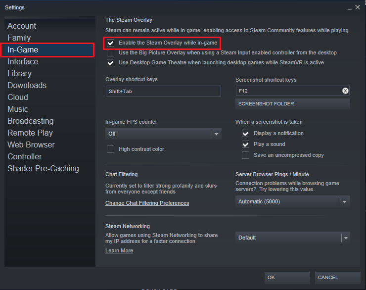 Check the box marked Enable the Steam overlay while in-game to disable overlay