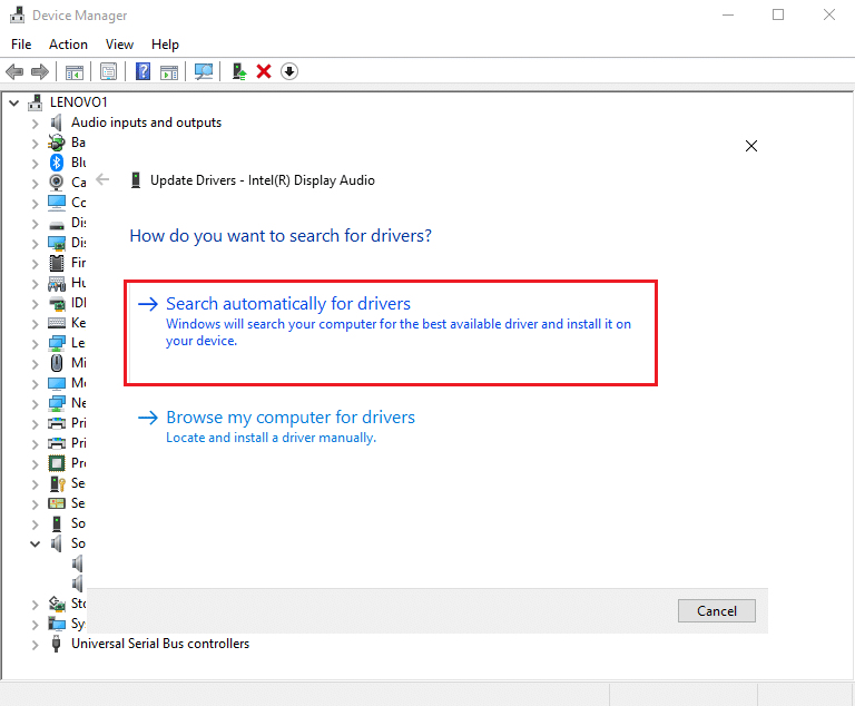 Click Search automatically for drivers