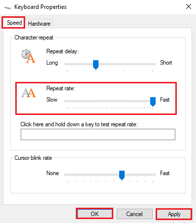 Click on Apply and then OK to implement these changes   Fix keyboard Input lag in Windows 10