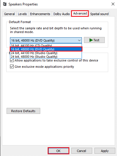 Click on Apply and then OK to implement these changes   Fix Audio Stuttering in Windows 10