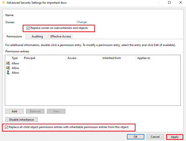 Click on Apply to save these changes and close the window | Fix Failed to Enumerate Objects in the Container error on Windows 10