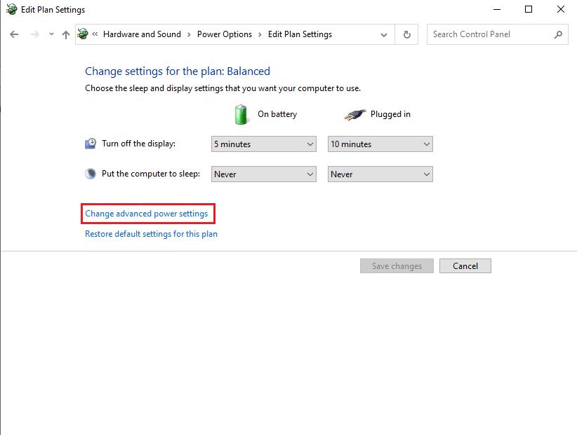 Click on Change advanced power settings   Fix Audio Stuttering in Windows 10
