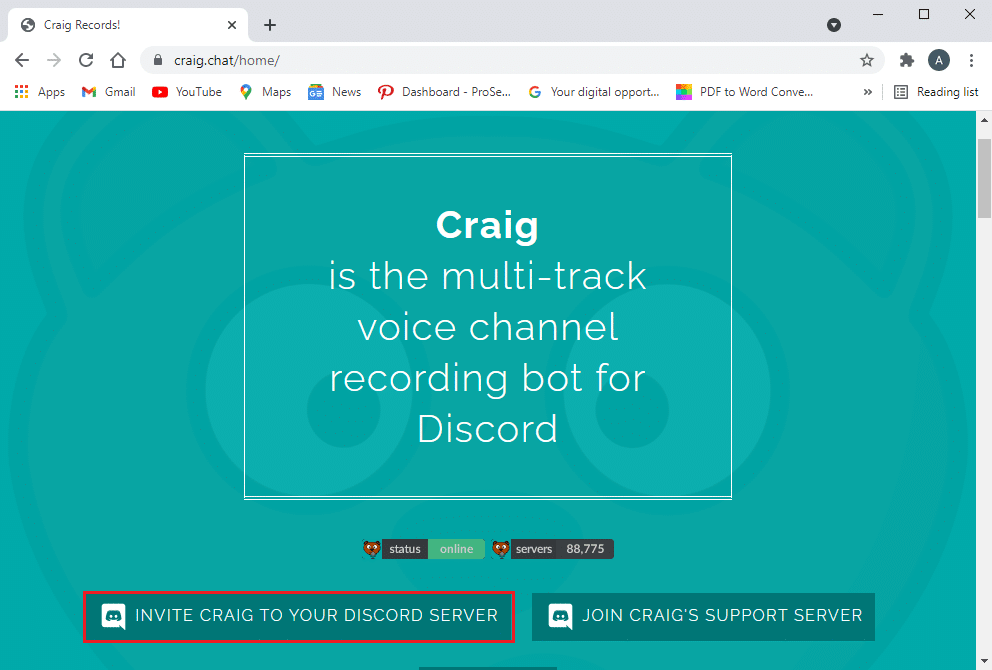 Click on Invite Craig to your Discord server link from the bottom of the screen