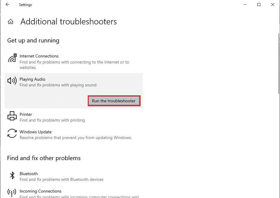Click on Run the troubleshooter   Fix Audio Stuttering in Windows 10