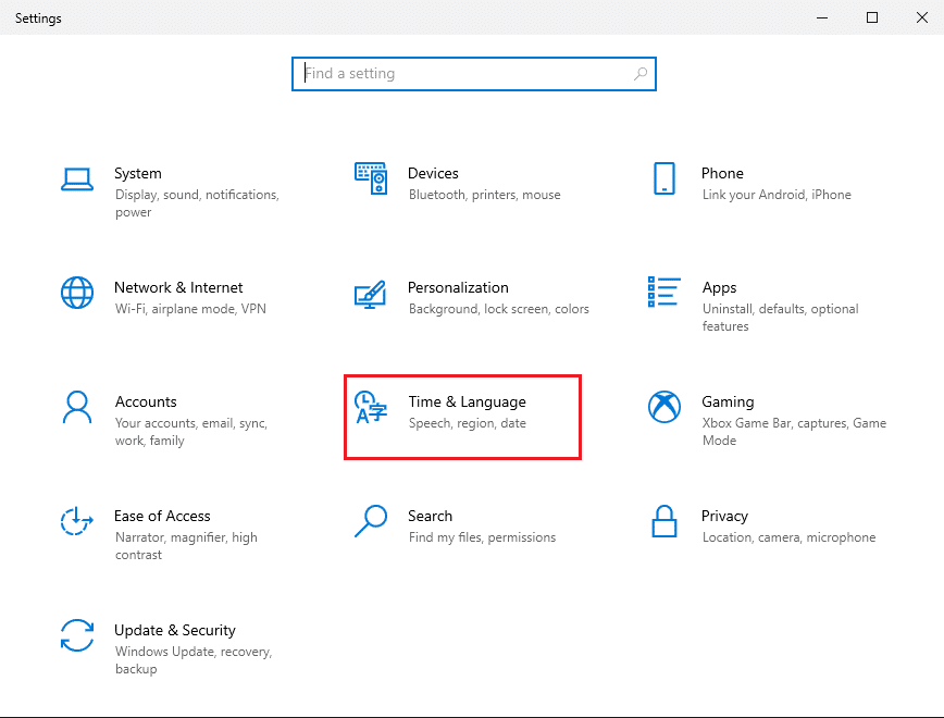 Click on Time and Language   Fix the Caps Lock stuck in Windows 10