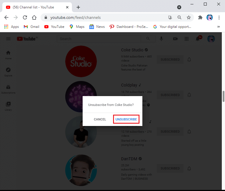 Click on UNSUBSCRIBE