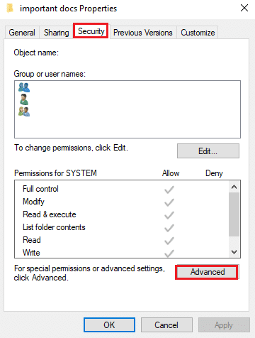 Click on the Advanced icon from the bottom of the window | Fix Failed to Enumerate Objects in the Container error