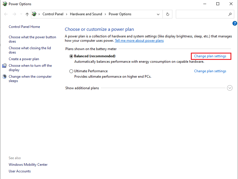 Click on the Change plan settings   Fix Audio Stuttering in Windows 10