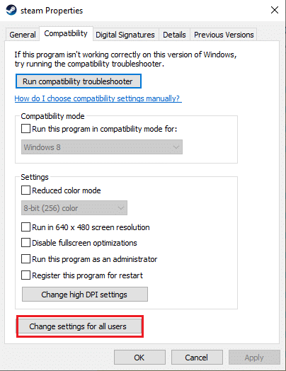 Click on the Change settings for all users button at the bottom