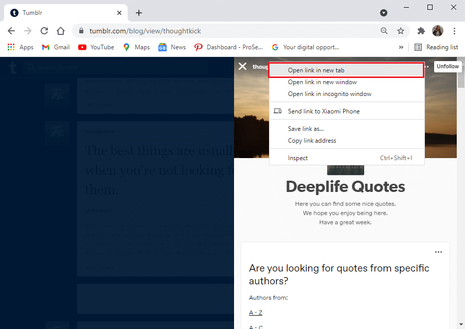 Click on the Open link in the new tab