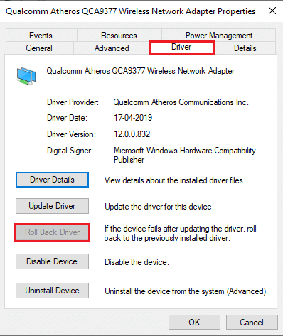 Click on the Rollback driver   Fix Windows could not automatically detect this Network's Proxy settings