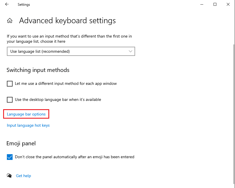 Click the Language bar options link under Switching input methods
