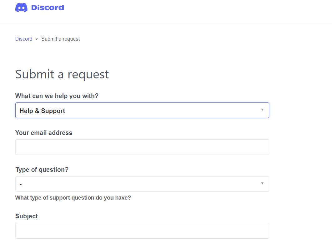 Contact Discord Support