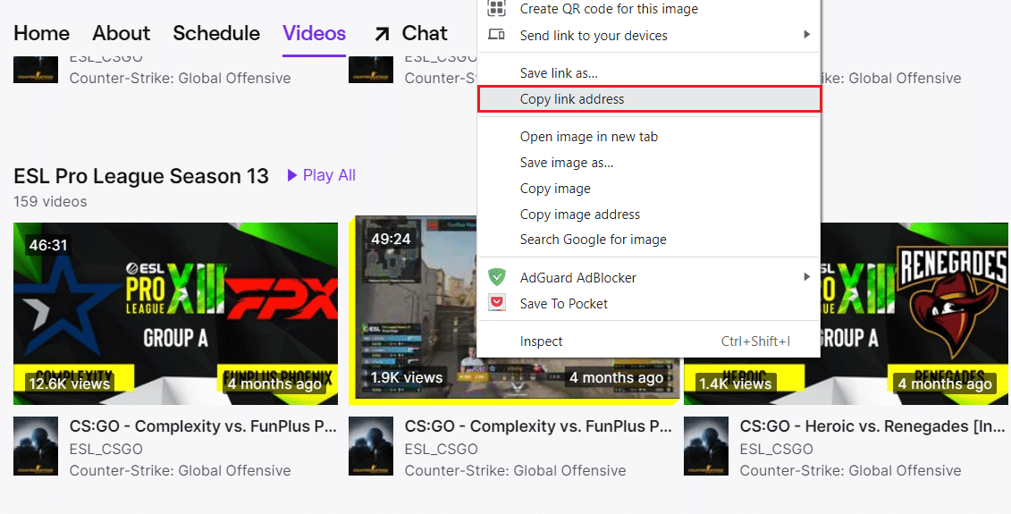 Copy link address on the Twitch video page